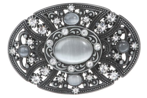 Oval Perforated Rhinestone Floral Belt Buckle
