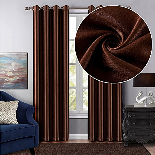 Dreaming Casa Grommet Top Solid Blackout Curtain Drapes Treatment Chocolate 1 Panel 42