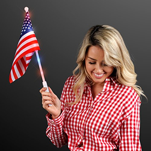 American Flags with Light Up Poles (Set of 12) for cheap