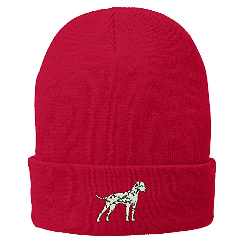 Dalmatian Embroidery (Trendy Apparel Shop Dalmatian Embroidered Winter Knitted Long Beanie - Red)