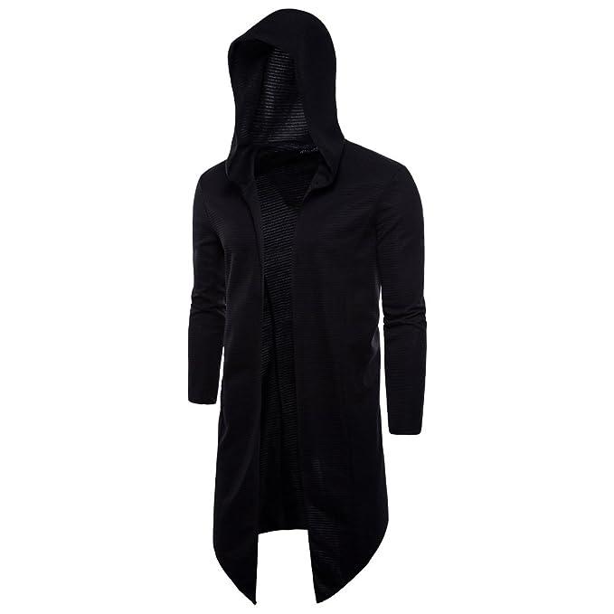 deft design hot-selling real meticulous dyeing processes Elonglin Men's Hooded Open Edge Long Cardigan No Zipper Outwear Long Sleeve  Black