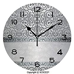 Frameless Clock 3D DIY Decorative Clock Baroque Damask Curves Rococo Style Motifs Floral Renaissance Revival Design Decorative 10 Inch Large Size Round Wall Clock for Living Room Bedroom Office Hotel