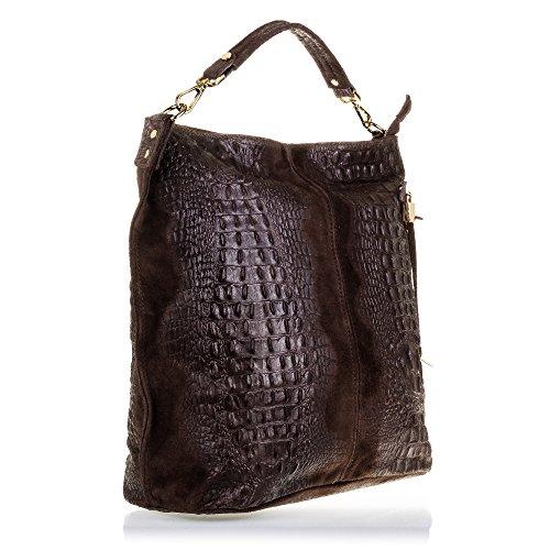 FIRENZE ARTEGIANI.Bolso shopping bag de mujer piel auténtica.Bolso cuero genuino, piel acabado grabado cocodrilo y lacado. MADE IN ITALY. VERA PELLE ITALIANA. 35,5x37x16 cm. Color: MARRON OSCURO