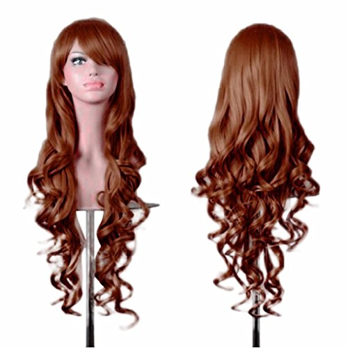 [DEESEE(TM) Women Lady Long Wavy Curly Hair Anime Cosplay Party Full Wig Wigs Cosplay wig (Brown)] (Making Waves Sailor Costume)
