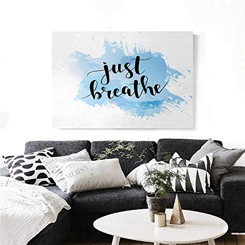 homehot Just Breathe Canvas Print Wall Art Hand Writing Style Phrase on Pale Blue Grungy Brushstrokes Backdrop Artwork for Wall Decor 24