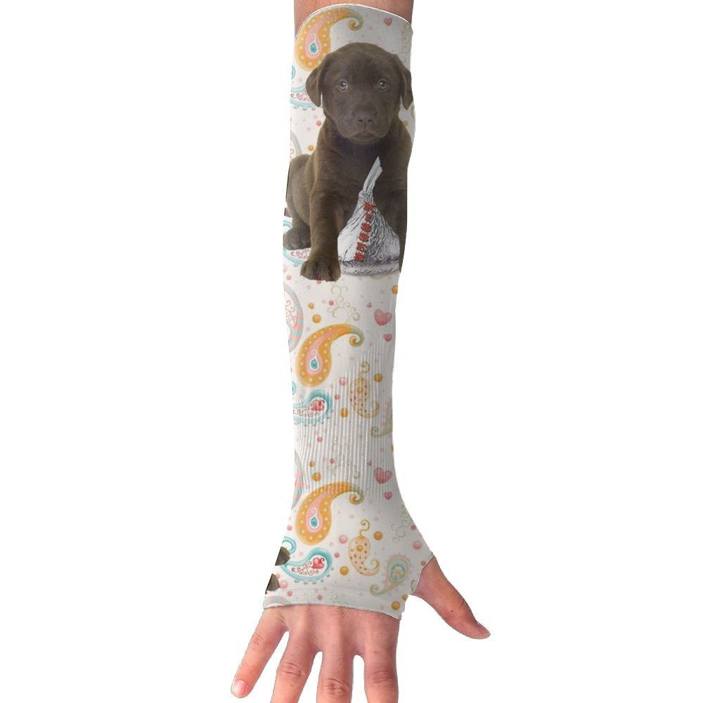 Huadduo Chocolate Puppy Kisses UV Protection,Compression /& Cooling Arm Sleeves For Women