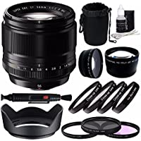 Fujifilm XF 56mm f/1.2 R Lens + 62mm 3 Piece Filter Set (UV, CPL, FL) + 62mm +1 +2 +4 +10 Close-Up Macro Filter Set with Pouch + 62mm Wide Angle Lens + 62mm 2x Telephoto Lens with pouch Bundle 3