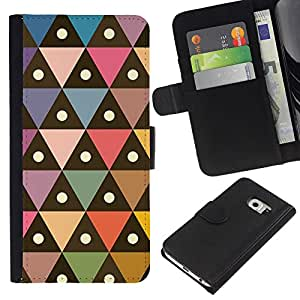 KingStore / Leather Etui en cuir / Samsung Galaxy S6 EDGE / Patrón Triángulo Polígono Pastel