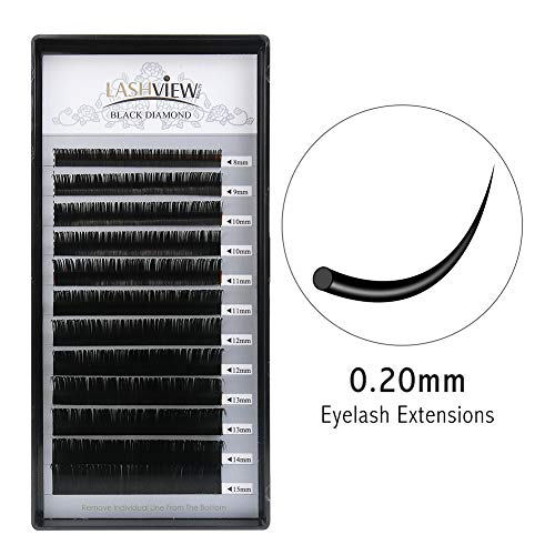 LASHVIEW 0.20 Thickness Silk Mink D Curl Fake Eyelash Extensions Mixed Tray 8-15mm Natural Thick Lashes Individual Semi-Permanent Eyelashes Application for Professional Salon Use