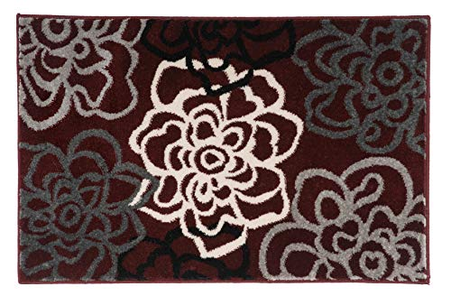 (Rugshop Contemporary Modern Floral Flowers Area Rug 2' x 3' Burgundy)
