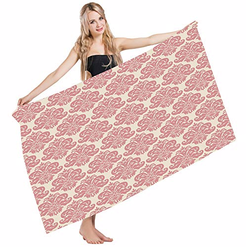 Mugod Beach Towel Bath Towels Dusty Rose Antique Damask Motifs Ornate Victorian Feminine Old Fashioned Revival Yoga/Golf/Swim/Hair/Hand Towel for Men Women Girl Kids Baby 64x32 Inch by Mugod