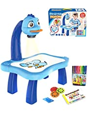 Dheera Child Learning Desk with Smart Projector, Trace and Draw Projector Toy with Light Music, Convenient Fun Projector Table for Kids