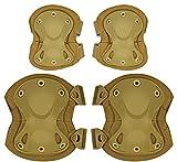 ArcEnCiel Tactical Combat Knee & Elbow Protective Pads Guard Set (Tan)