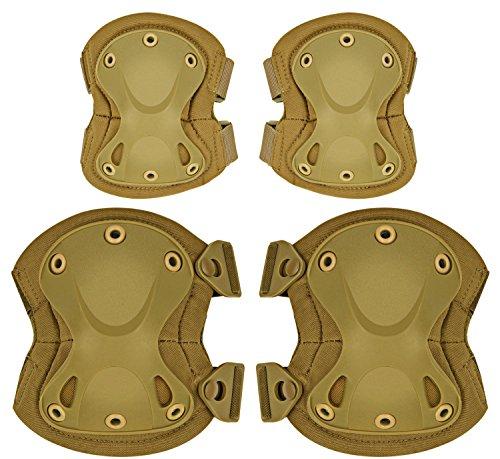 (ArcEnCiel Tactical Combat Knee & Elbow Protective Pads Guard Set (Tan))