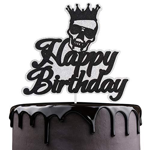 Happy Birthday Skulls (Pirate Skull Happy Birthaday Cake Topper - Novelty Glitter Crossbones Halloween Cake Décor - Autumn Fall Festival Party - Adult Ceremony Kids Birthday)