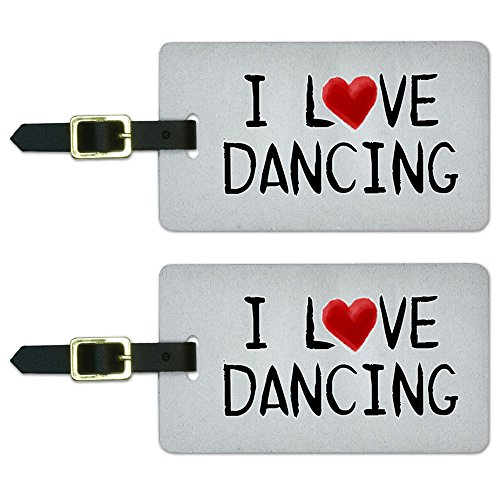 Graphics & More I Love Dancing Written on Paper Luggage Suitcase Carry-on Id Tags, White