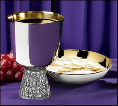Last Supper Chalice and Bowl Paten Set
