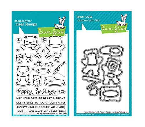 Lawn Fawn Clear Stamp and Coordinating Die Set - Beary Happy Holidays - (LF1470, LF1471) -  2 Item Bundle by Lawn Fawn