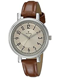 Titan Women's 'Neo' Quartz Metal and Leather Automatic Watch, Color:Brown (Model: 2554SL01)