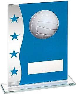 Lapal Dimension Bleu/Argent Imprimé Plaque en Verre avec Football Gaélique d'image Trophy–6,5en