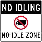 National Marker Corp. M785J No Idling (Graphic) No Idle Zone Sign, 48 Inch X 48 Inch, 0.080 Egp Alum