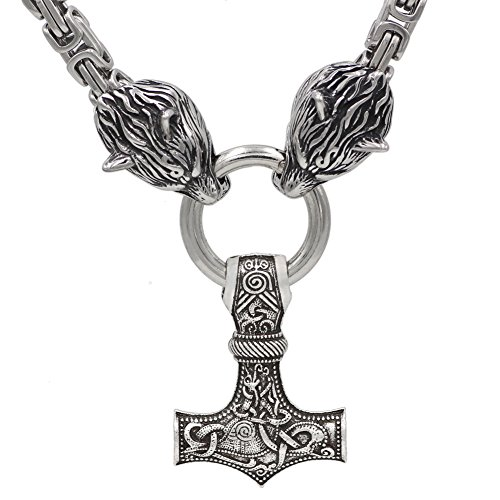 VikingsBrand Handmade Stainless Steel Thors Hammer Necklace with Wolf Heads - Mjolnir Pendant with Exquisite Link Chain - Norse Jewelry for Men - Authentic Scandinavian Mens Accessories
