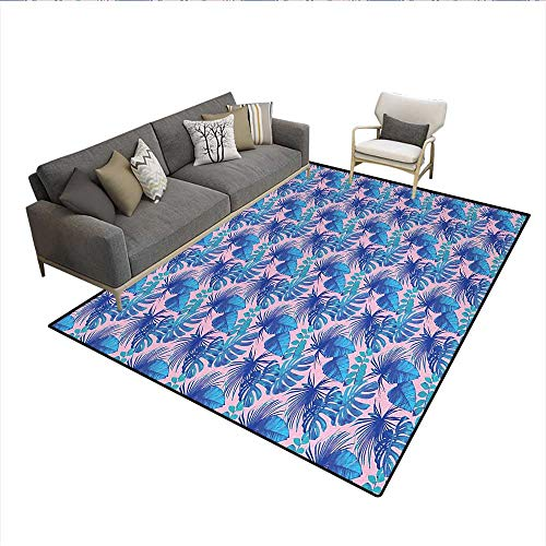 Carpet,Island Jungle Summer Plants in Blue Luau Theme Botanical Nature,Area Silky Smooth Rugs,Navy Blue Turquoise PinkSize:6'x7'