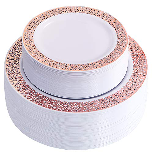 WDF102 pcs Rose Gold Plates-Lace Design Disposable Plastic Plates-Wedding Party Plastic Plates include 51 Plastic Dinner Plates 10.25inch,51 Salad/Dessert Plates 7.5inch (Rose Gold -