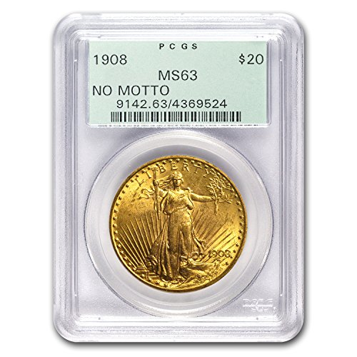 1908 $20 Saint-Gaudens Gold Double Eagle No Motto MS-63 PCGS G$20 MS-63 PCGS