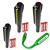 3 PACK 6373 Nebo LiL Larry 250 lumen Flashlight COB LED Magnetic Super Bright Worklight, Black with 9 X AAA Batteries and EdisonBright USB powered reading light bundle