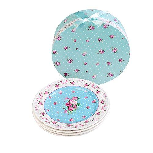 London Boutique Side Cake Dessert Plate Set, Porcelain Fine China, Rose Blue