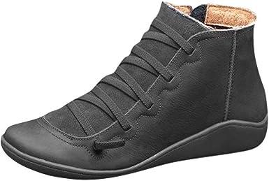 Junmaono Botines De Cuero Otono Vintage Con Cordones Zapatos De Mujer Botas Calzado Tallas Grandes Mujer Con Suela De Goma Cortas Con Cremallera Cabeza Redonda Zapatos Casuales Impermeable Amazon Es Ropa Y Accesorios