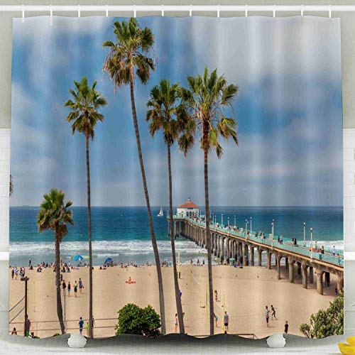 Musesh Fabric Shower Curtain,Kids Shower Accessories, 78x72 Inch Shower Curtain Home Decoration Set with Hooks Beach Pier Day Time in Southern California at Los Angeles