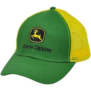 5d2daa916a5628 John Deere Mesh Snapback Green Yellow Hat Cap Trucker Curved Bill Adjustable