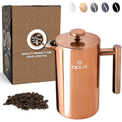 OPUX Premium Insulated Double Wall French Press | 4 Cup Stainless Steel Coffee Press with 4 Layer Filtration System for Pour Over, Espresso | (34 fl oz) (Glossy Copper)