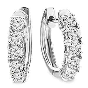 1.00 Carat (ctw) 14K White Gold Round White Diamond Ladies Huggies Hoop Earrings 1 CT