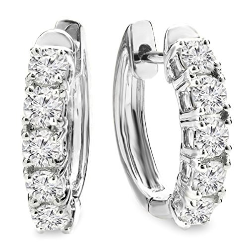 1.00 Carat (ctw) 14K White Gold Round White Diamond Ladies Huggies Hoop Earrings 1 CT by DazzlingRock Collection