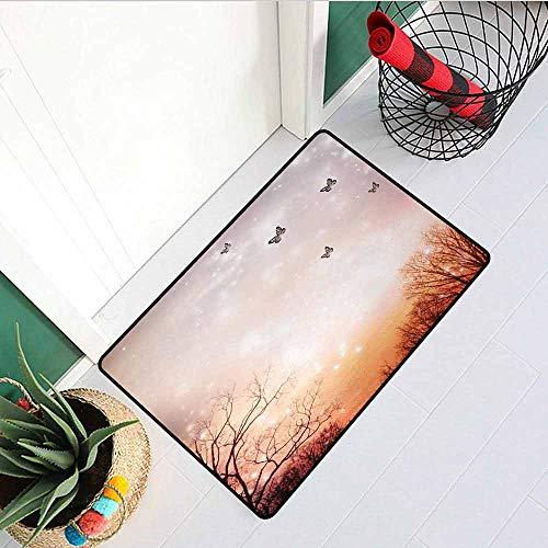 GloriaJohnson Butterfly Universal Door mat Dreamy Butterflies Over Trees Romantic Fantasy Blurry Sky Artistic Design Door mat Floor Decoration W15.7 x L23.6 Inch Orange Baby Pink