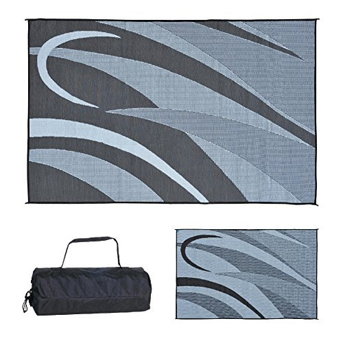 Ming's Mark GA1 Stylish Camping Reversible Graphic Patio Mat-8' x 12', Black/Silver