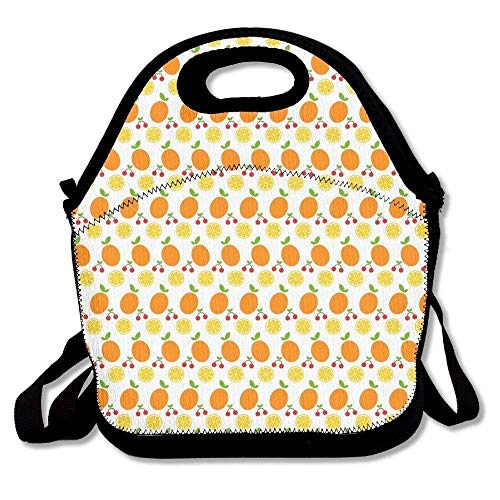 Polka Dot Cherries Snap - Cartoon Oranges And Cherries Backgrounds Lunch Bag Cool