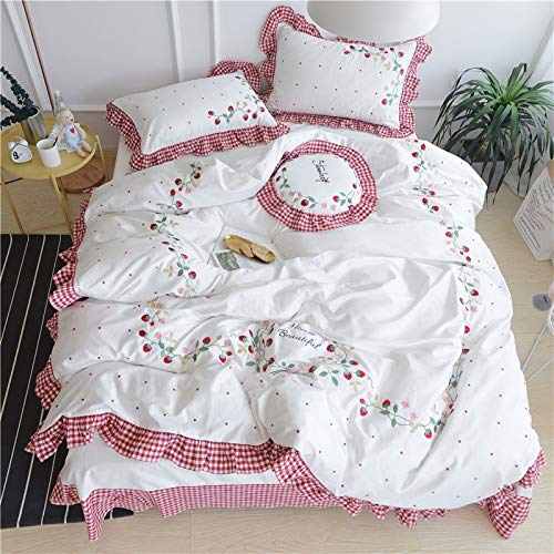 LMHCHK White Pink Embroidery Strawberry Cute Bedding Sets Girls King Size Bed Sheet Set 5Pcs Duvet Cover Linen Set Pillow Covers,Queen,200230cm