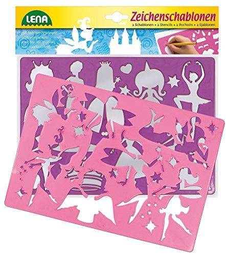 Lena 65766 - 2 Zeichenschablonen Prinzessinnen und Elfen, ca. 26 x 19 cm