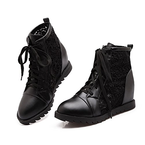 A&N Girls Lace Platform Heighten Inside Mesh Legging Boots Black 0eZnF44K
