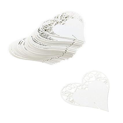 JZK 100 Bianco cuore segna posto segnaposto segnatavolo segnabicchiere  bomboniera per matrimonio compleanno nascita battesimo comunione Natale  segnaposti ... b06431c613bf
