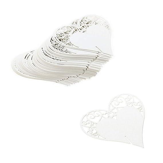 JZK 100 x Blanco tarjetas etiquetas decorativas corazón invitaciones boda copa detalle lugar nombre mesa para boda cumpleaño comunión bautizo fiesta ...