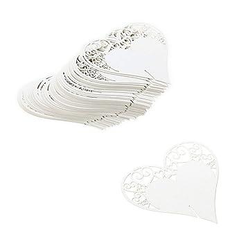 JZK® 100 x nacarado blanco corazón encendido resplandor de copa de vino nombre de tarjeta