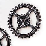 CL203 Gear Quadruple Wooden Wheel for Wall Decoration Retro Style Ornament Traditional Industrial Cafeteria Bar Boys Room Corridor Art 40CM (Four Corners)
