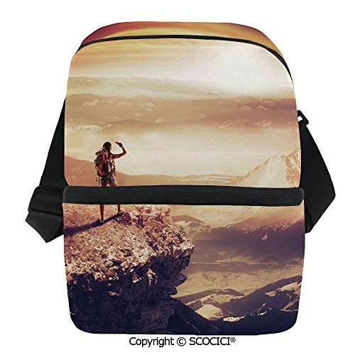 (SCOCICI Collapsible Cooler Bag Traveler Woman with Backpack on Mountain Surveying Sunset Adventure Photo Print Insulated Soft Lunch Leakproof Cooler Bag for Camping,Picnic,BBQ)