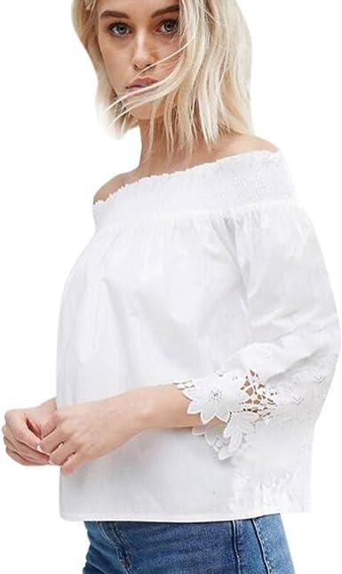 Blusas de Mujer Koly Camisa de Encaje Floral Crochet Blouse Shoulder Off Lace Shirt Manga Larga Atractivo Camisa Casual Blusas y Camisas Camisetas y Tops Elegantes de Fiesta Ropa (Blanco, XL): Amazon.es: