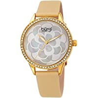 Burgi Women's Watch – Swarovski Crystal Accented Bezel, Beautiful Flower Pattern on Mother of Pearl Dial – Black Satin Leather Skinny Strap BUR203YG